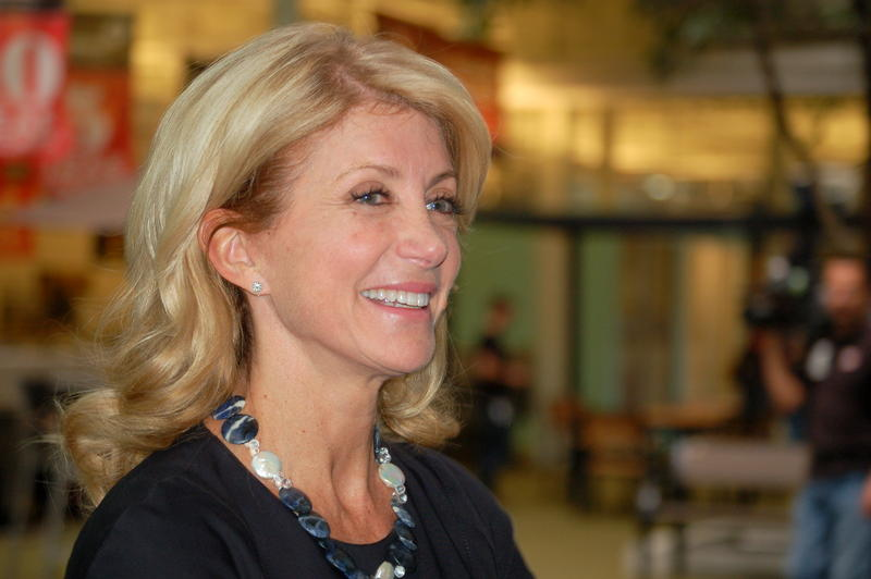 Wendy Davis at a Rackspace campaign stop in San Antonio last year.