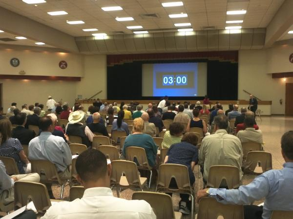 Officlals estimate more than 200 stakeholders were present at the Alamo RMA public meeting on proposed construction for Hwy. 281 North