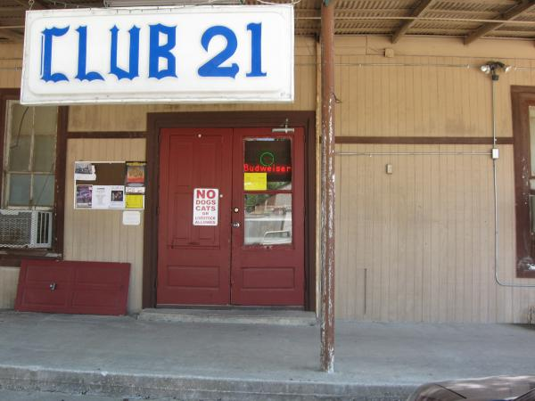 The front entrance of Club 21, a classic Texas dance hall that was destroyed in a fire October 2010.