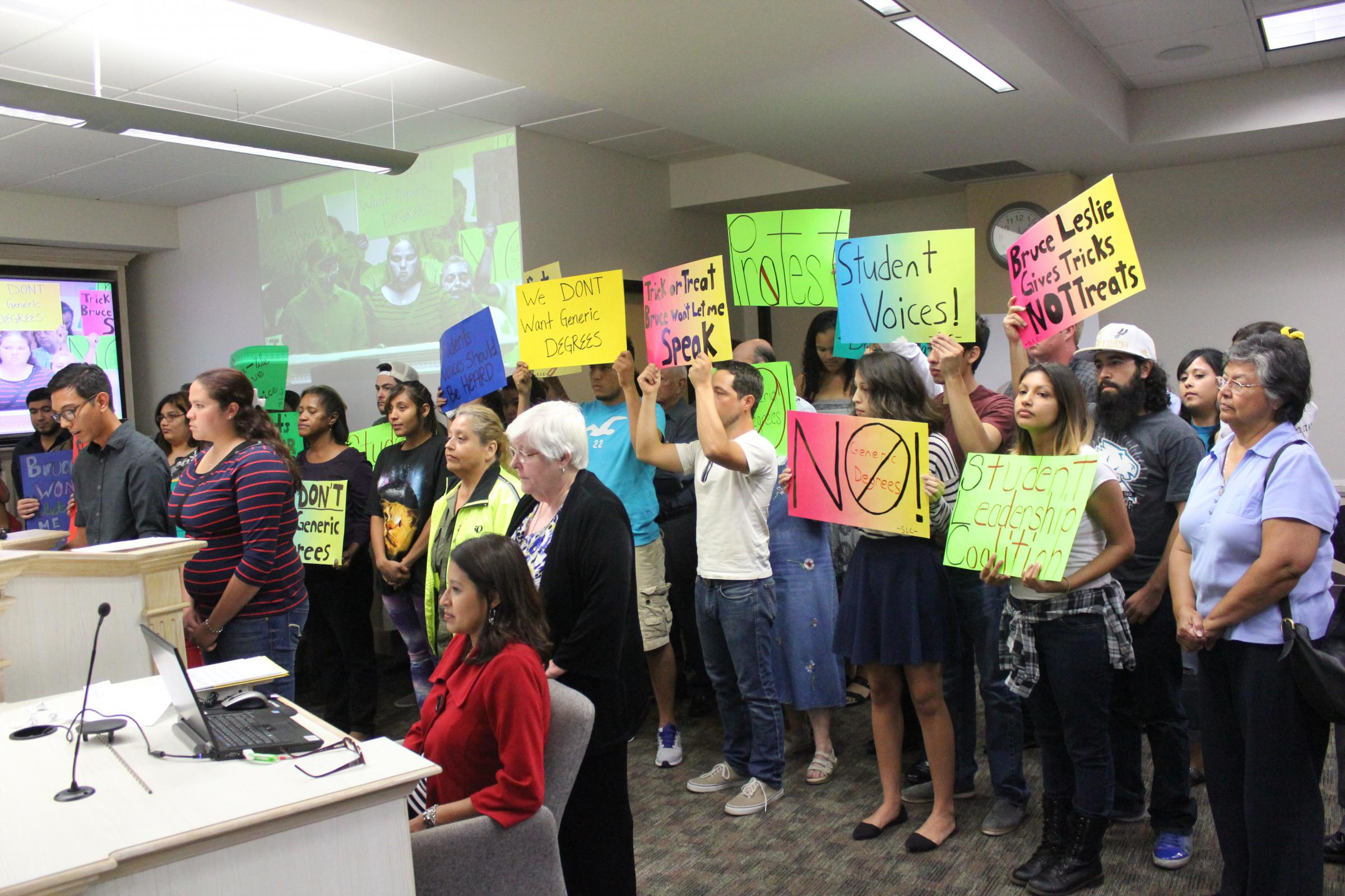 alamo colleges students voice generic degree concerns to board palo alto college student simon sanchez is joined by many other students from the other four alamo colleges