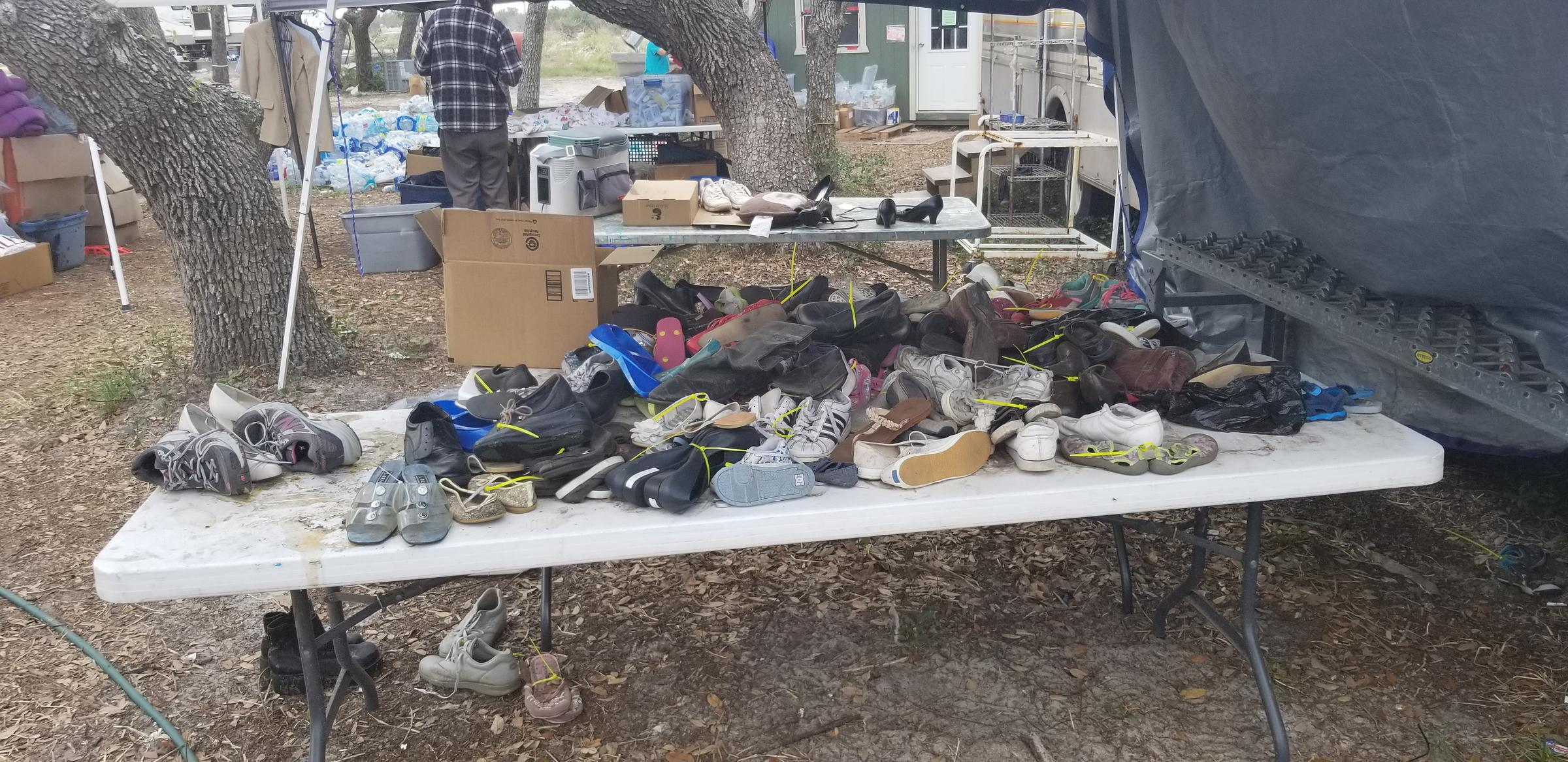 Shoes were donated for Hurricane Harvey victims at the Rockport Relief Camp.