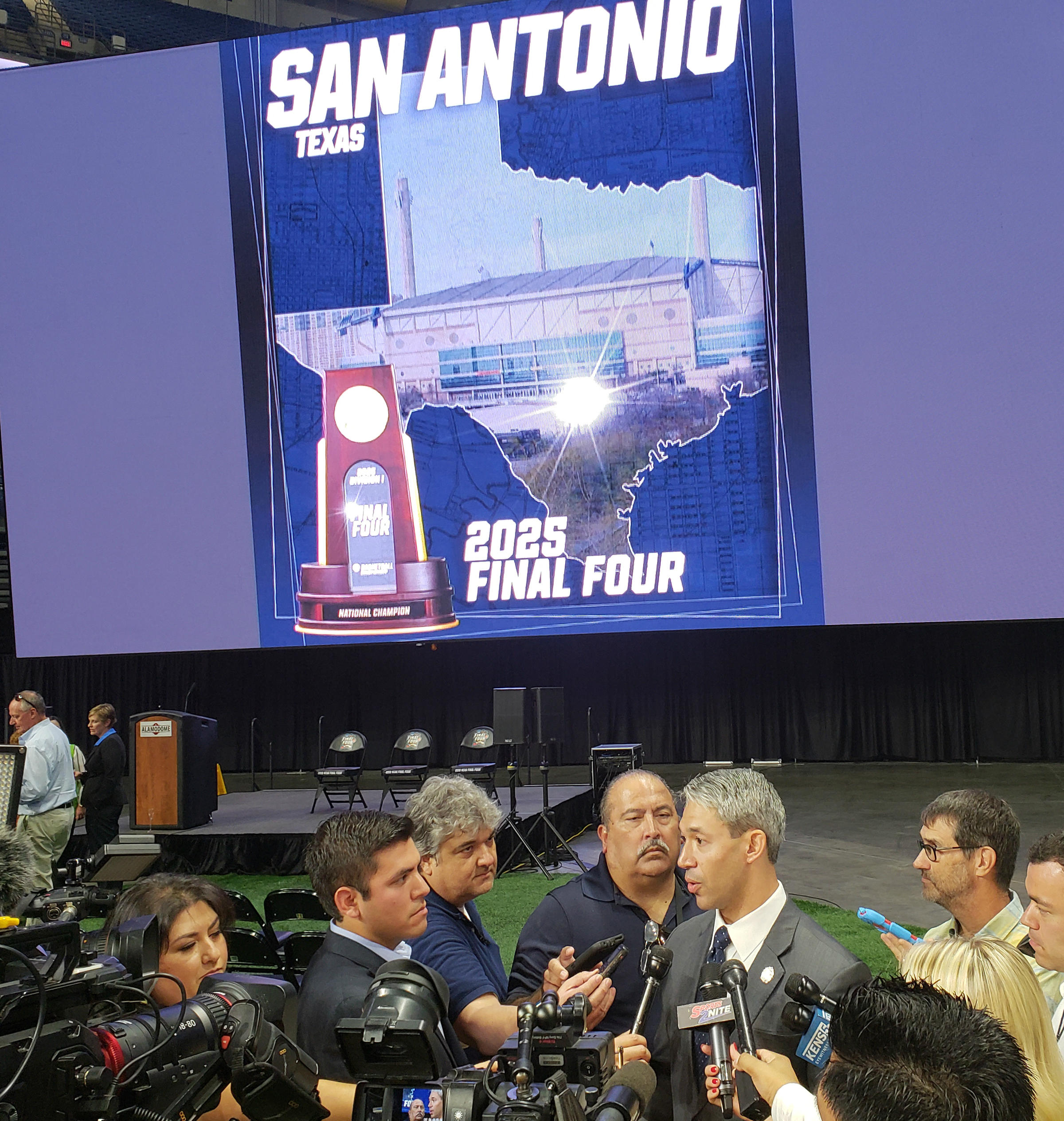 San Antonio Mayor Ron Nirenberg fields questions after the NCAA's announcement that the city will play host to the 2025 Men's Final Four