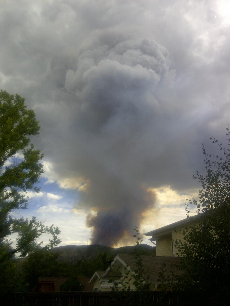 Airpark Fire as seen from a west Durango Neighborhood, Sunday 6pm.