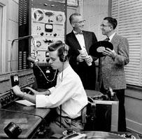 Early KVOF control room, Virgil Hicks, head of Broadcasting on the right.