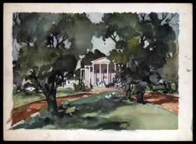 Metro-Goldwyn-Mayer, 1939, Gone with the Wind, drawing of the exterior of Twelve Oaks