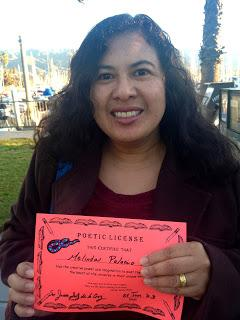 Melinda Palacio with her Poetic License!