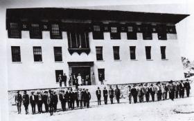 Main (now known as Old Main) in 1918, and faculty & staff. The first building on the UTEP campus designed in the Bhutanese style.