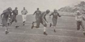 Football practice on Kidd Field, ca. 1930s