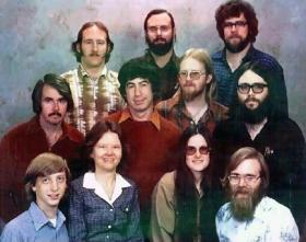Bob O'Rear and the early founders of Microsoft (middle row, far left). Bill Gates is at lower left.