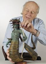 Ray Harryhausen with one of his classic figures