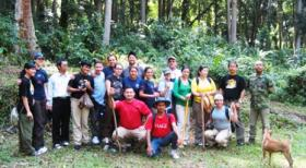 Dr. Stacey Sowards (second from left), with UTEP students and forest rangers at Gunung Walat Forest, Indonesia.