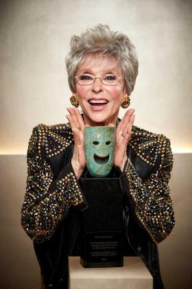 Rita Moreno with her Lifetime Achievement Award from the Screen Actors Guild