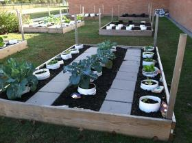 Example of a cylinder garden at a Houston elementary school