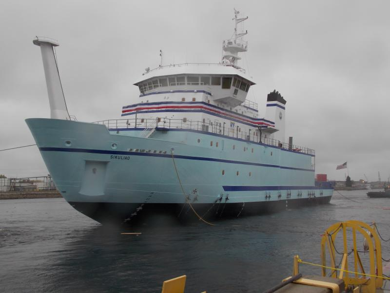 Sikuliaq floats in the Menominee River just after launch