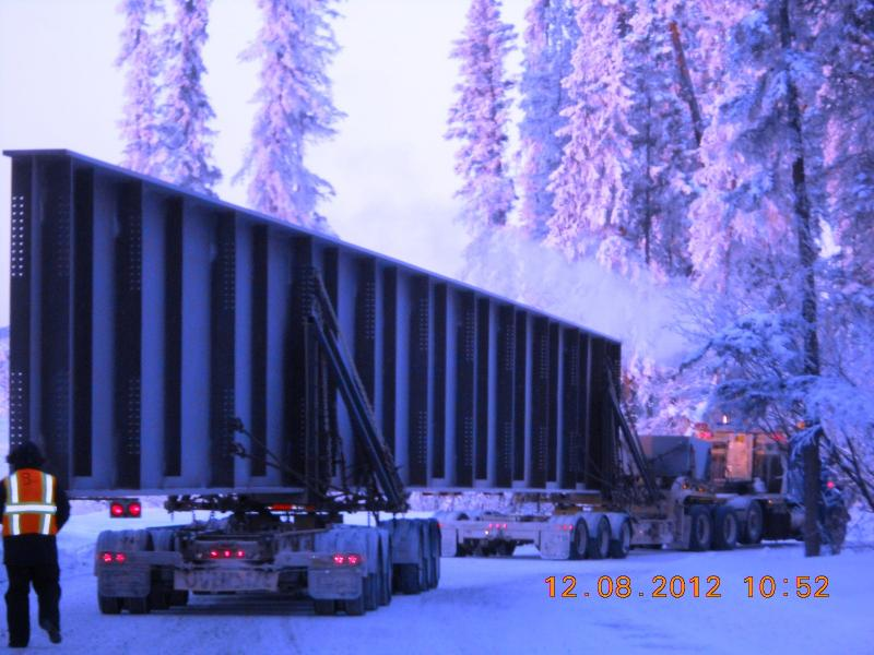 The route to the bridge-construction site presented challenges for the Carlile Trucking drivers who are bringing the extra-long and heavy loads up from Valdez.