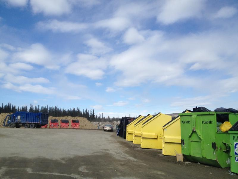 UAF's recycling center is located in the Taku parking lot along Farmer's Loop in Fairbanks