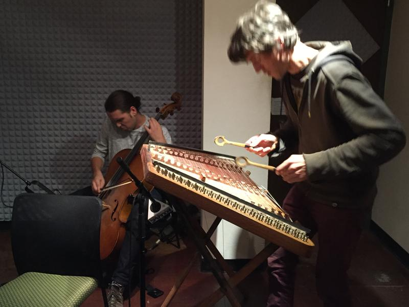 Nat Smith, cello and Simon in a flurry of movement on the hammered dulcimer