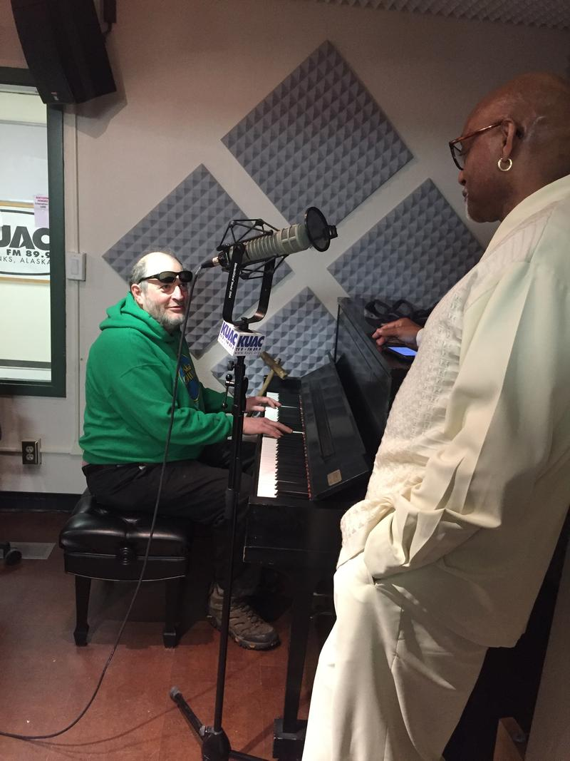 Willie Blackburn and David Schlesinger working out the details prior to hitting the Alaska Live airwaves