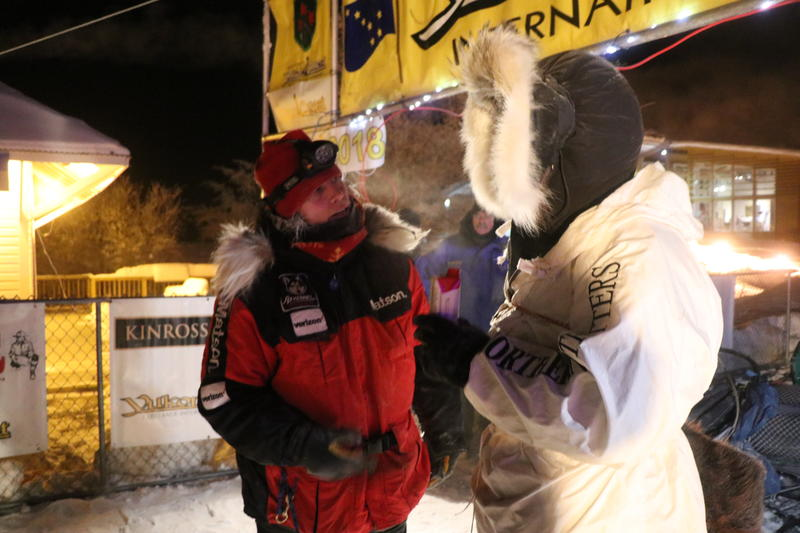 Aily Zirkle greets husband Allen Moore after his arrival in Dawson City