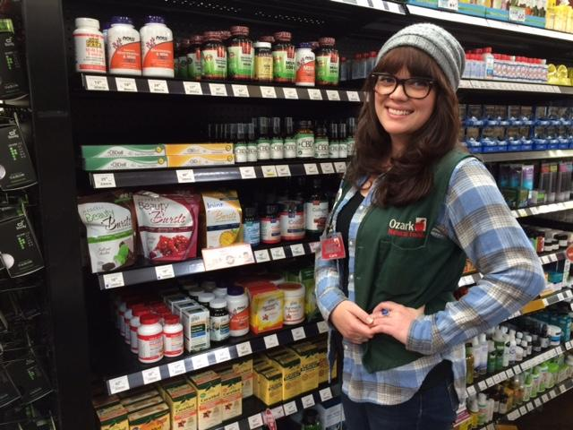 Carrie Hilderbrandt is wellness manager at Ozark Natural Foods, which carries an array of hemp cannabidiol supplements and topicals.