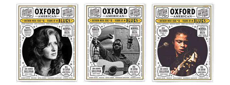 The 18th Southern Music issue of the Oxford American features three blues icons: Bonnie Raitt, John Lee Hooker and Aida Victoria.