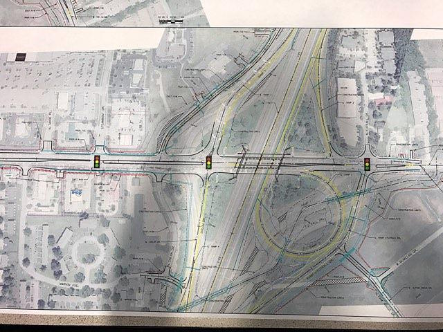 A map provides details regarding proposed improvements to the Wedington Drive and Interstate 49 interchange in Fayetteville.