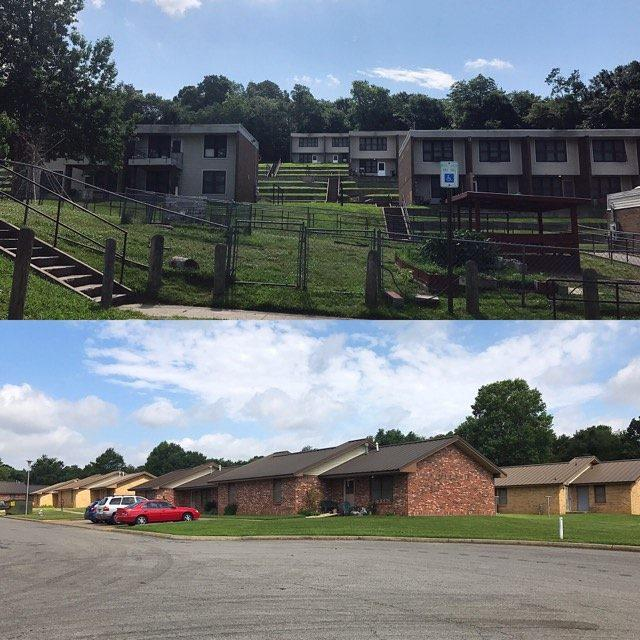 Willow Heights and Morgan Manor public housing properties in Fayetteville.