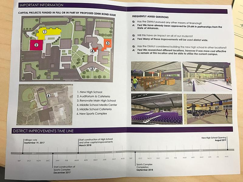 A pamphlet from the Berryville School District outlines the projects that will be funded by the millage increase.