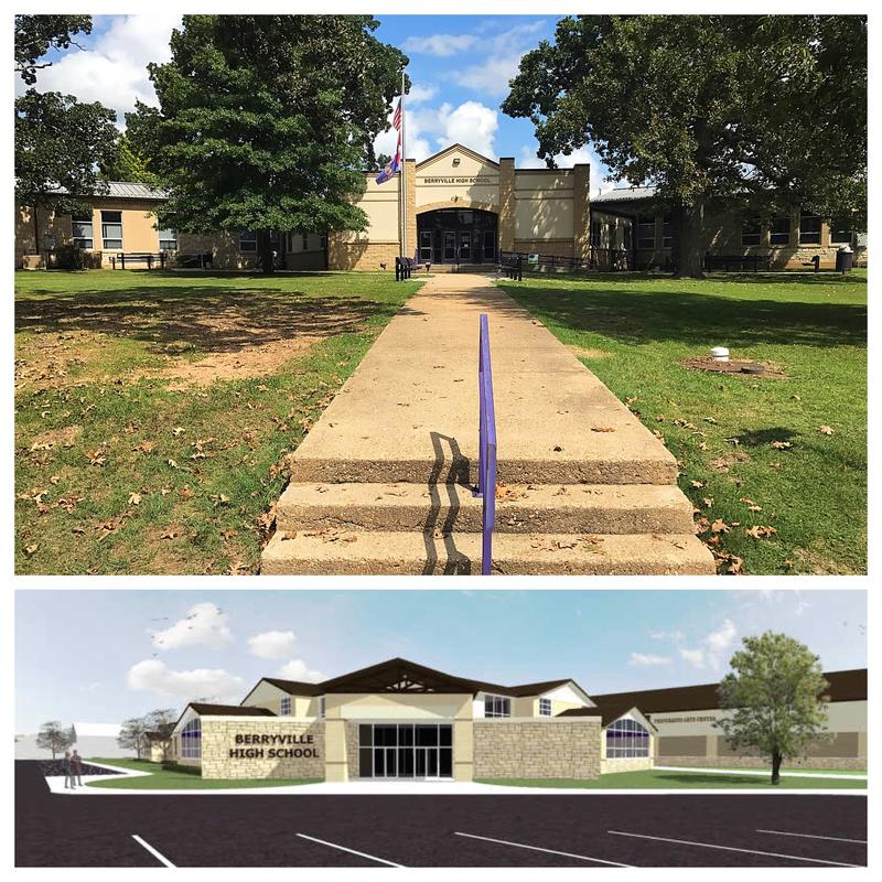 TOP: The main high school building in Berryville. BOTTOM: A rendering of the proposed new high school facility.