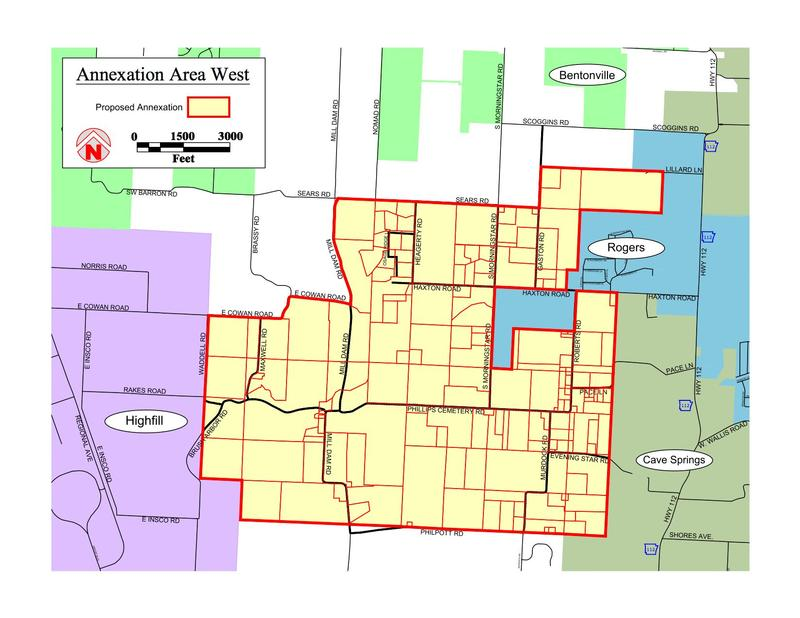 The area Rogers has proposed to annex through a special election. Cave Springs also wants to annex the same property through a special election, but many property owners in the center of the proposed annexation have asked to be annexed into Bentonville.