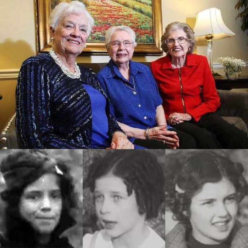 Earlene Henry (from left), Martha Westberg and Rhea Dunegan at Butterfield Trail Village and photos of the women from the Kidnappers Foil.