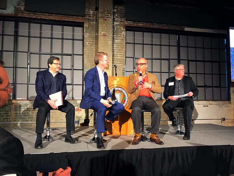 L to R: Stephen Luoni, director of the UA Community Design Center; Shaun Donovan, former U.S. Housing and Urban Development Secretary; Darren Walker, president of the Ford Foundation; Peter MacKeith, dean of the Fay Jones School of Architecture and Design