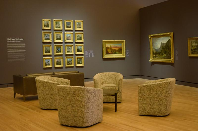 Furniture from Howse has been installed in the galleries, offering patrons a comfortable way to enjoy the artwork.