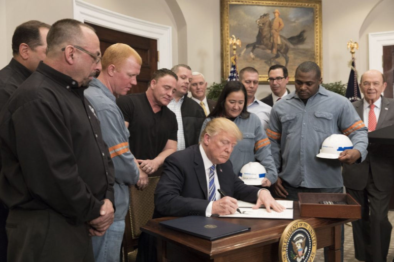 President Trump signs Section 232 Proclamations on Steel and Aluminum Imports, which place a 25 percent tariff on steel and a 10 percent tariff on aluminum.