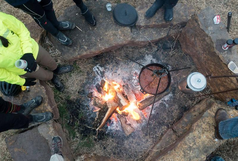 In Huntsville, the group was treated to shelter, a fire and chili.