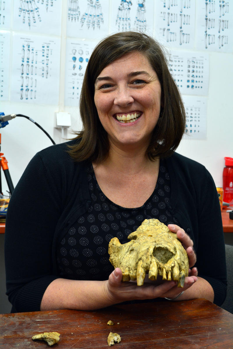 Claire Terhune with hyena skull