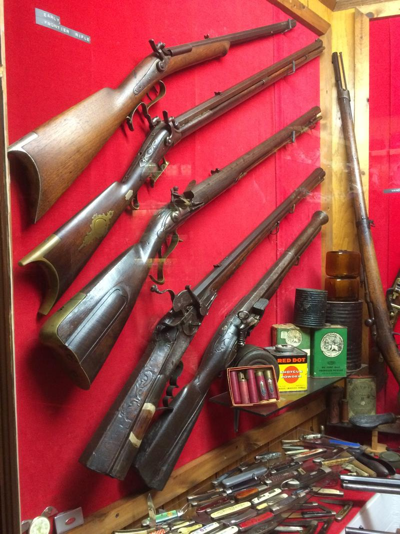 The museum has hundreds of antique weapons, including this early American rifle collection.