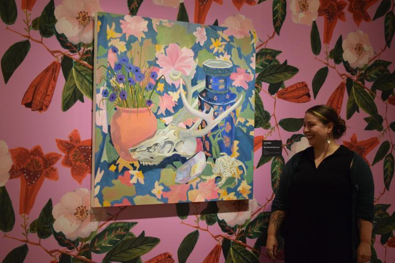 Oakland-based artist Anna Valdez stands by her work <i/>Deerskull with Blue Vase.</i>
