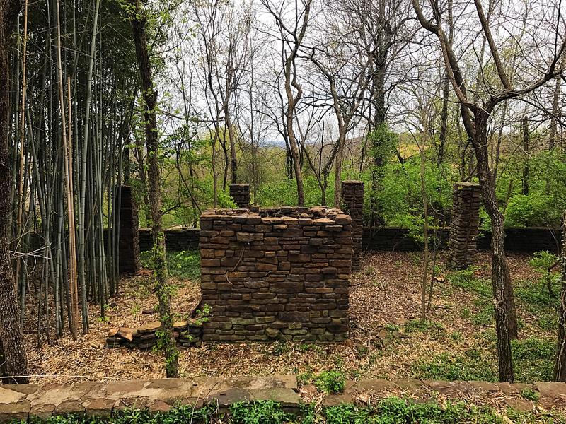 The remnants of a second home Fay Jones had started building on the property next to his home.