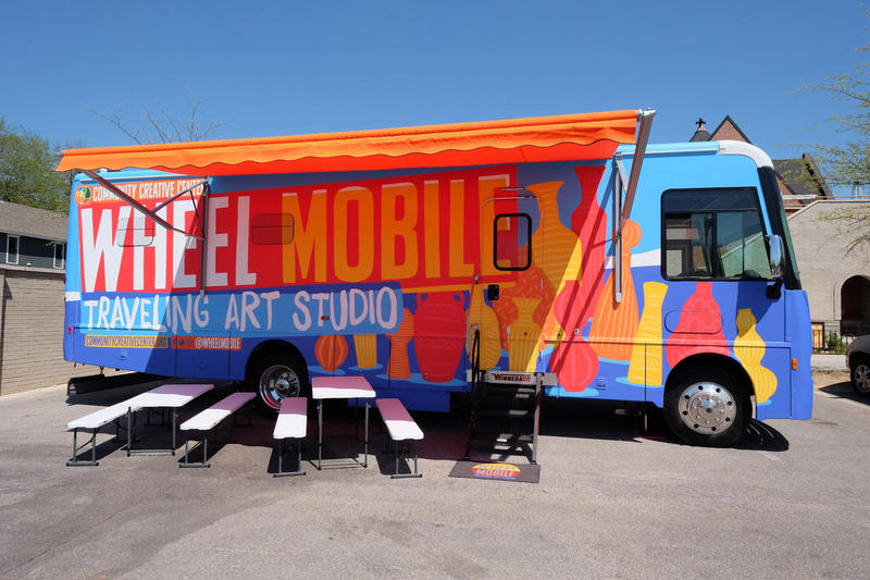 The Community Creative Center's new Wheel Mobile is a 33-foot, custom-designed Winnebago equipped with nine potter's wheels, art supplies and clean-up facilities.