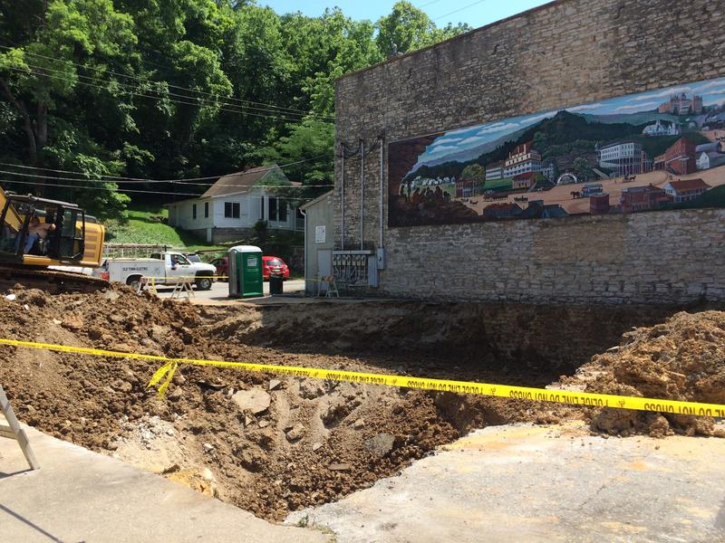 The historic Basin Spring Bathhouse was not damaged by the collapse.