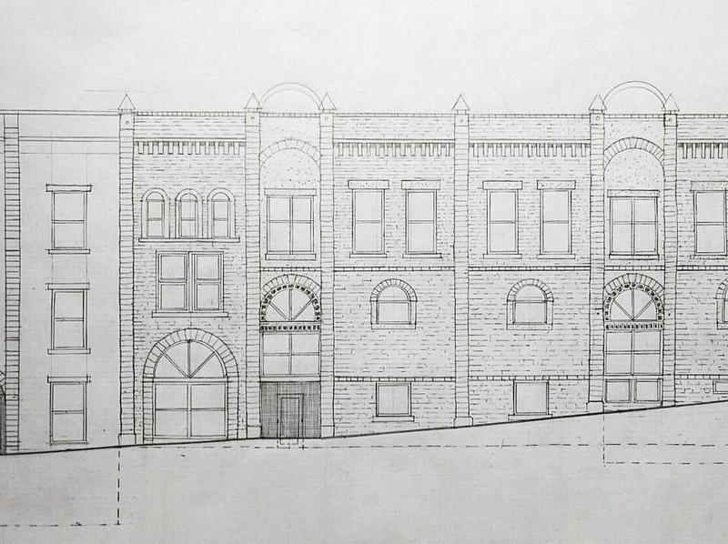 Architectural illustration of the Block Avenue side of the building by Albert Skiles.