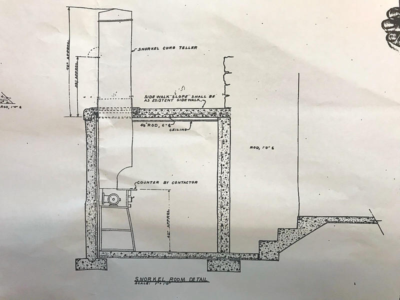 Plan drawing of the so-called snorkel room.