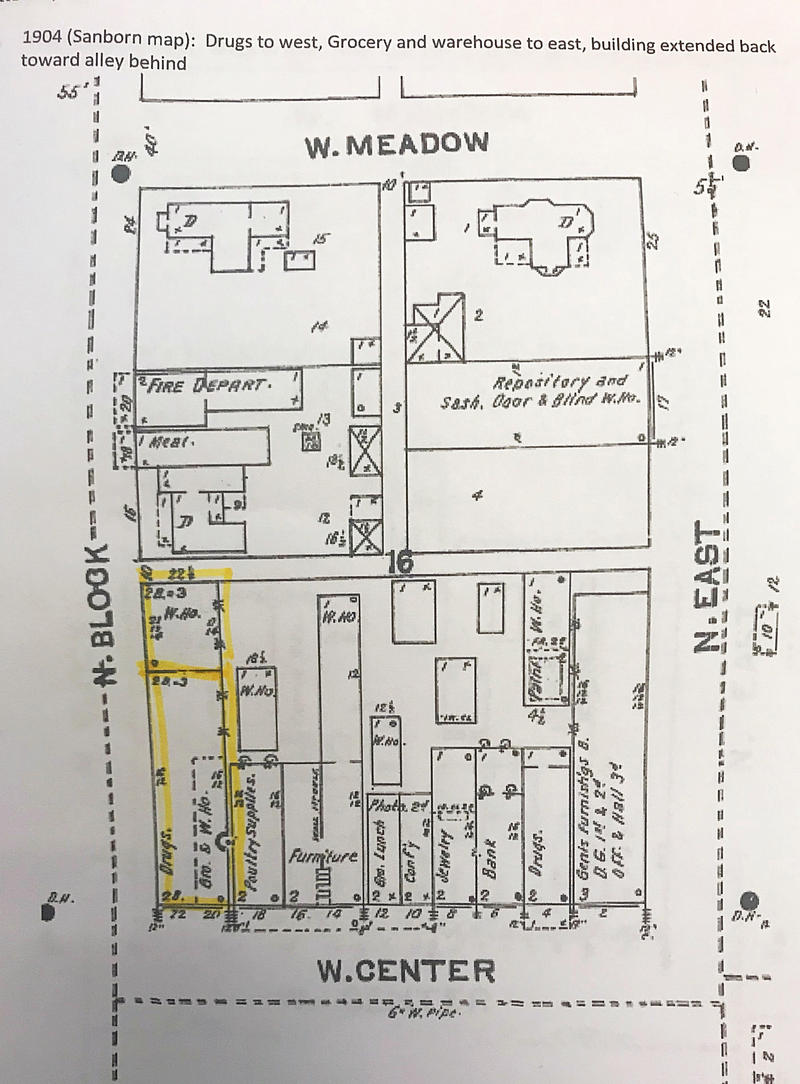A 1904 Sanborn map that depicts the southwest and northwest buildings.