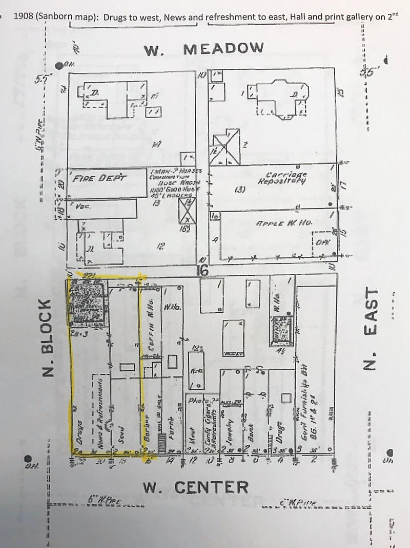 A 1908 Sanborn map that depicts all three buildings found under the modern facade.