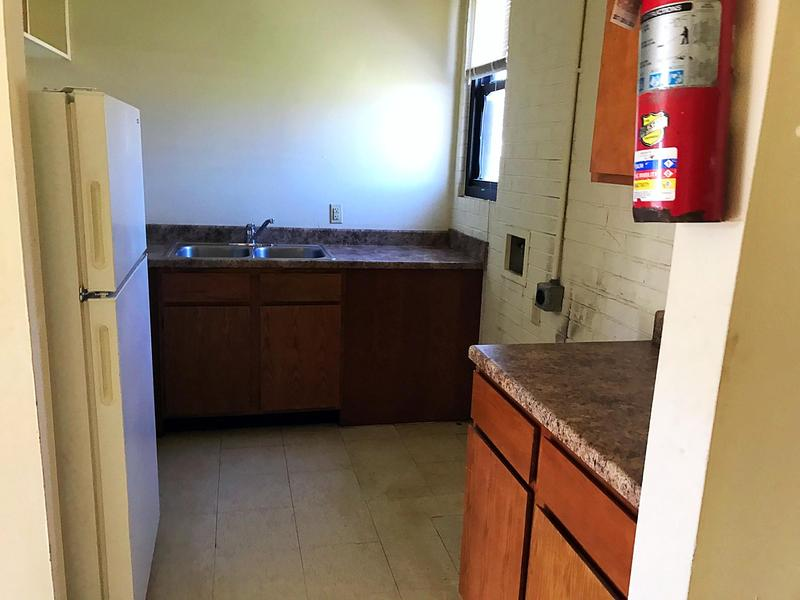 A kitchen inside a Lewis Plaza unit as seen in April 2018.