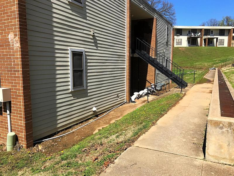 Sandbags outside a Willow Heights unit as seen in April 2018.