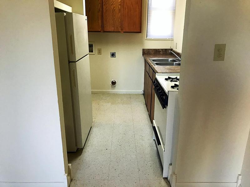 A kitchen inside a Willow Heights unit as seen in April 2018.