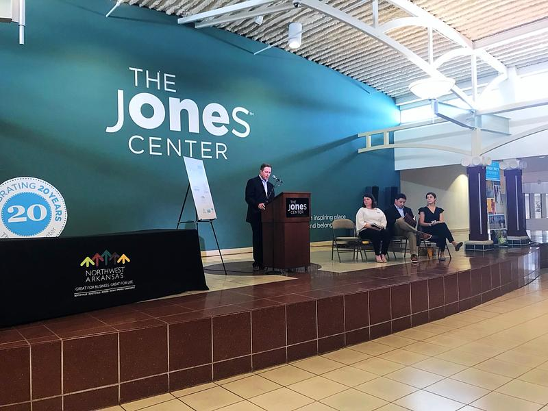 Nelson Peacock, president and CEO of the Northwest Arkansas Council, unveils the EngageNWA Strategic Plan at Jones Center.