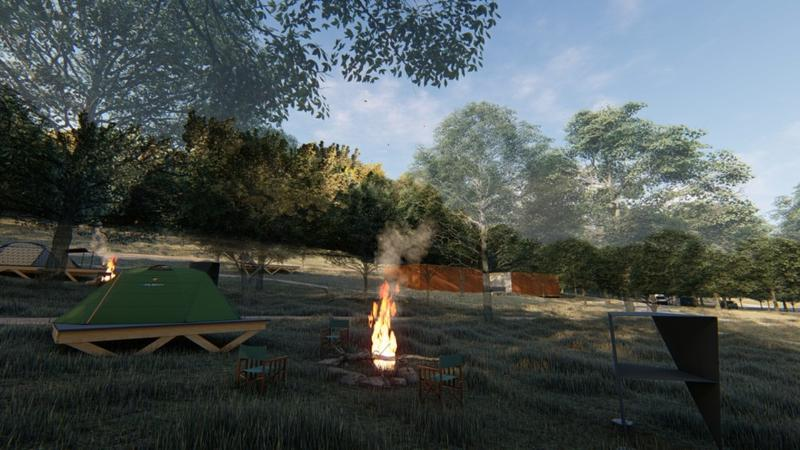 A rendering of campsites at Coler Preserve.